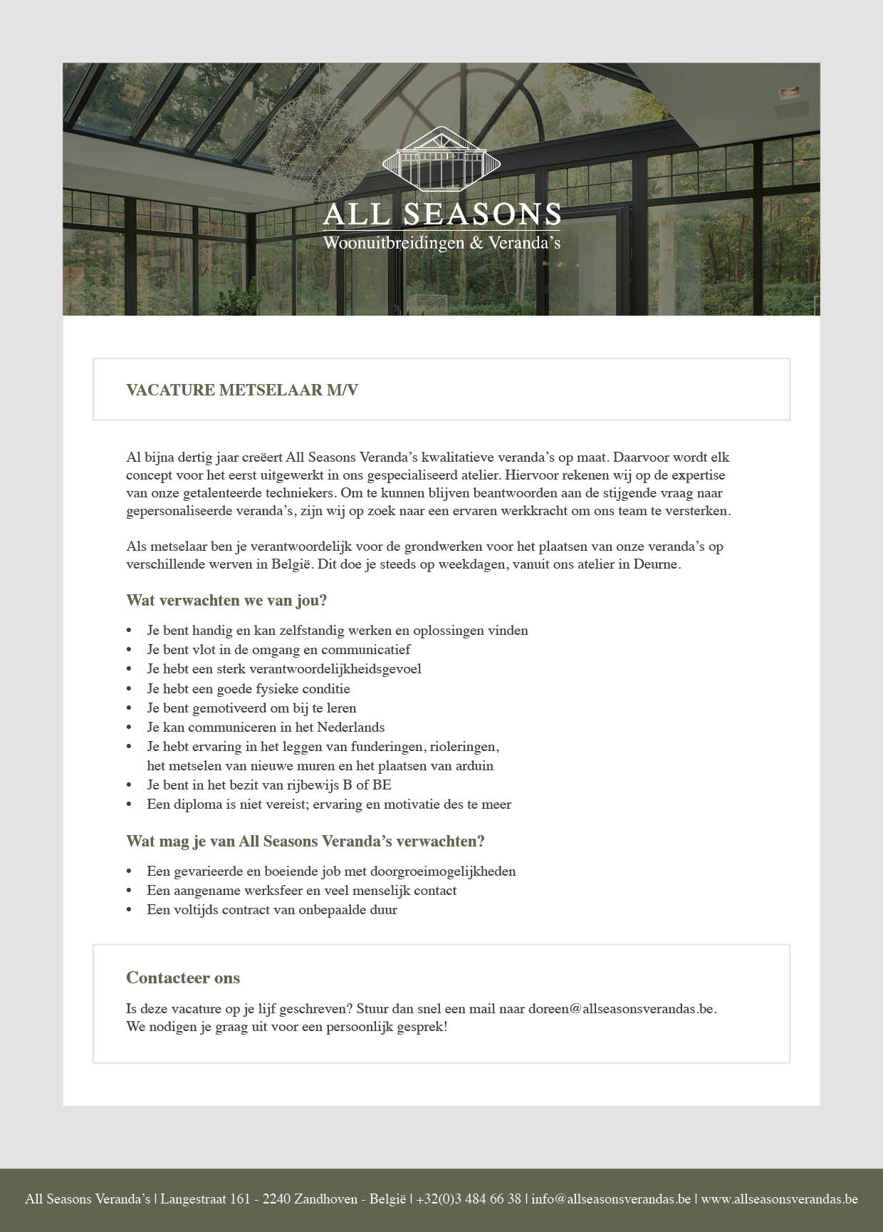 All Seasons Verandas Vacature Metselaar
